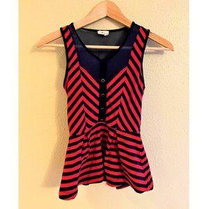 Pins & Needles Sleeveless Red & Blue Peplum Top XS